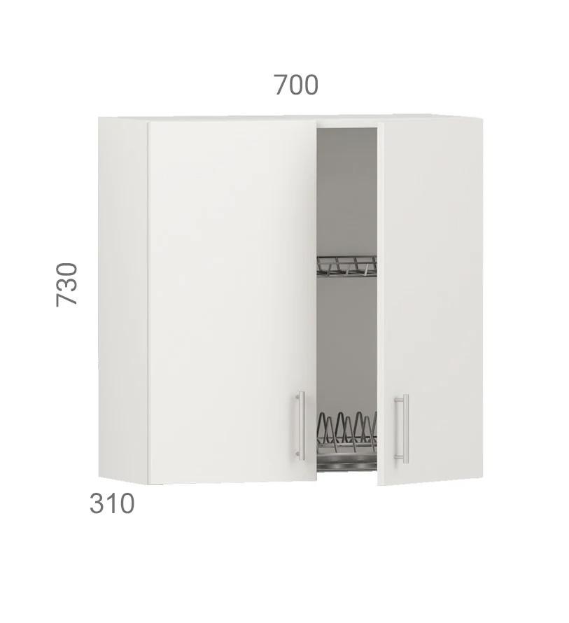 Кухонний шафа навісний (модуль) з сушкою (без дна з дсп) і фасадами з пластику на основі МДФ (70х31х73 см)