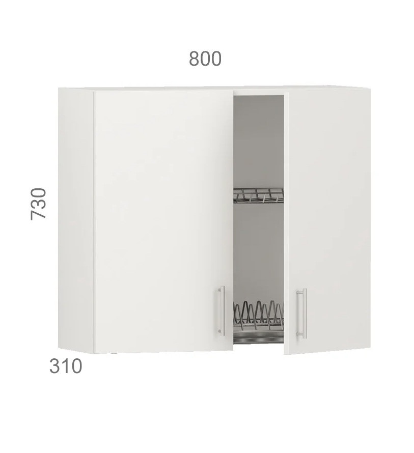 Кухонний шафа навісний (модуль) з сушкою (без дна з дсп) і фасадами з пластику на основі МДФ (80х31х73 см)