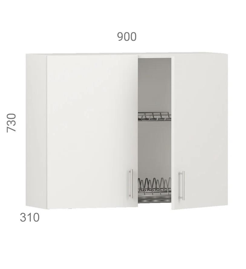 Кухонний шафа навісний (модуль) з сушкою (без дна з дсп) і фасадами з пластику на основі МДФ (90х31х73 см)