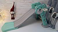 Детская горка, Горка для катания Мишка бирюзово-серая, баскетбольное кольцо HF-H008-4