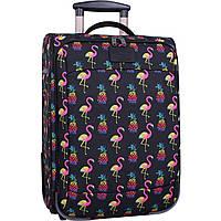 Чемодан текстильный G-SAVOR 32 л. розовый фламинго