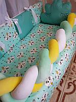 Комплект детского постельного белья в кроватку, защита в кроватку, бортики в кроватку Бонна коса панды