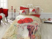Постельное белье Cotton box Ранфорс Floral Seri 3D GRETA KIRMIZI бежевый с красной розой