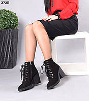 Замшеві черевики на низькому ходу 36,37,38,40 р чорний, фото 1