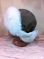 ушанка из бежевой плащёвки и  белого меха  кролика