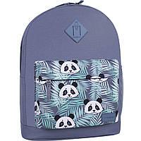 Рюкзак молодежный серого цвета женский 17 л. Gray рюкзачок для девушки с принтом панда