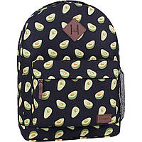 Городской женский рюкзак черный с ярким принтом  17 л. рюкзачок на каждый день