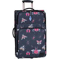 Чемодан женский текстильный большой дизайн 70 л. чемодан на 2 колеса с ручкой