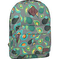 Рюкзак женский молодежный 17 л. цветной 754 с красивым принтом авокадо, городской женский рюкзачок