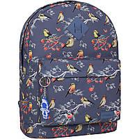 Женский городской рюкзаксеррый с принтом птицы  (дизайн) 17 л. рюкзачок девушке на каждый день, учебы