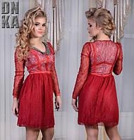 Вечернее платье из гипюра с воротничком из бисера 2 цвета