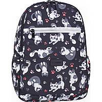 Женский рюкзачок городской с котиками 13 л.  черного цвета среднего размера для девушки повседневный
