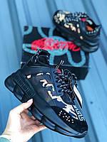 Мужские кроссовки Versace Chain Reaction Black / Версаче Чеин Реакшн Черные