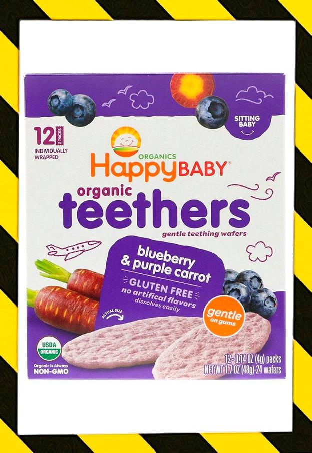 Happy Family Organics,Organic Teethers,вафли для мягкого прорезывания зубов,голубика и  морковь,12 пак по 4г