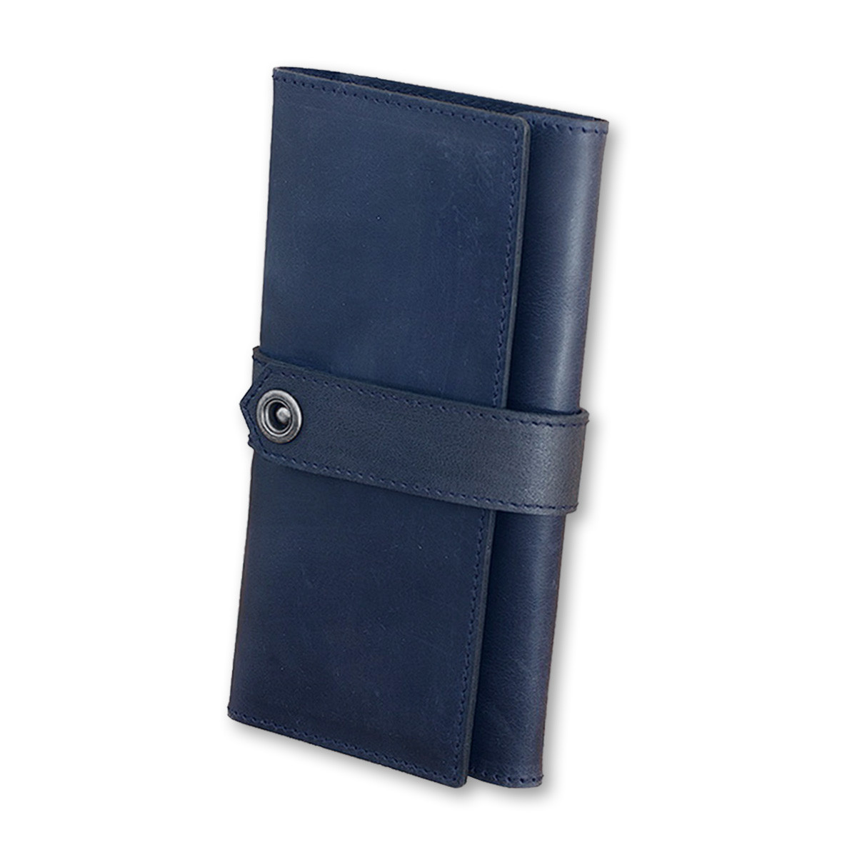 Кошелек-клатч кожаный мужской синий (ручная работа)