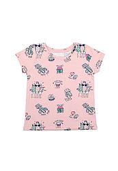 Блузка для девочки стрейч-кулир с интересным принтом