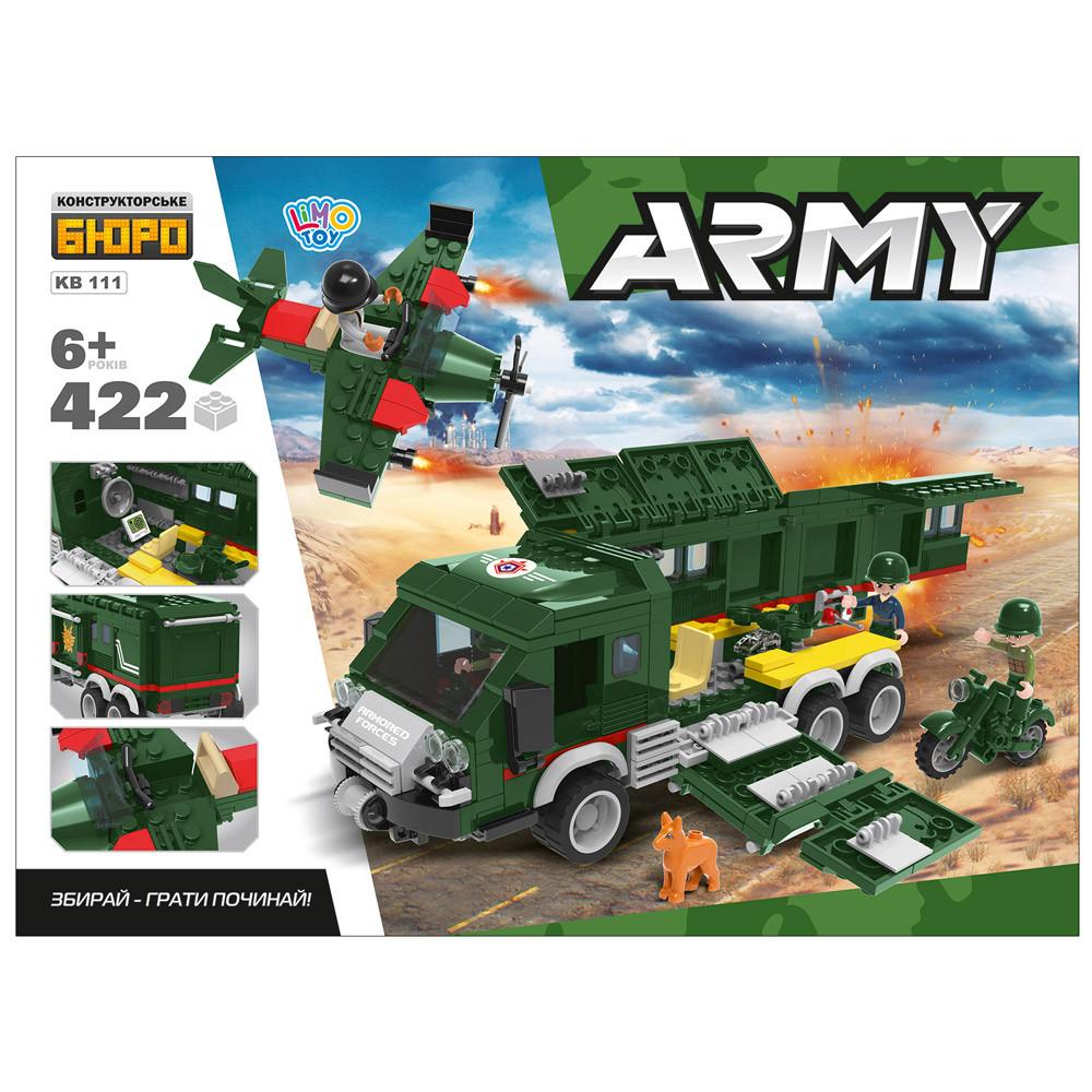 Конструктор KB 111 військова машина, літак, мотоцикл, фігурки, 422 дет., кор., 45-33-7 см