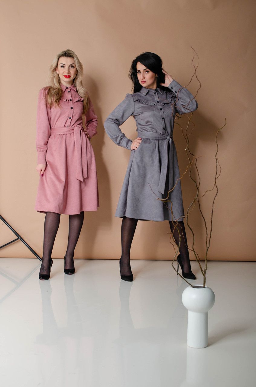 Женское деловое платье с пуговицами (2 цвета)
