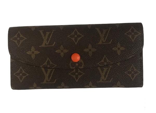 Женский кошелек Louis Vuitton Emilie Луи Витон на кнопке (цвет - оранжевый)