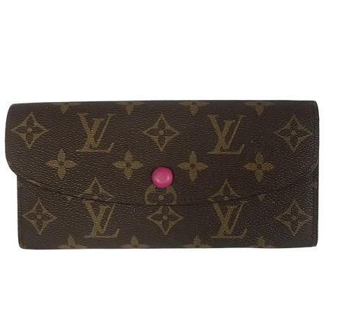 Женский кошелек Louis Vuitton Emilie Луи Витон на кнопке (цвет - малиновый)
