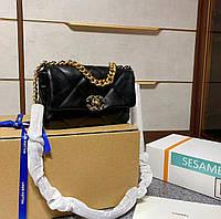 Черная стеганая сумка 19 LARGE FLAP BAG кожаная с серийным кодом, фото 1