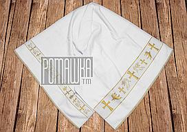 Качественная крыжма полотенце 135х70 для крещения младенца махровая крестить на крестины крещение 2133 Белый