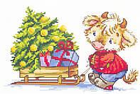 Luca-s Набор для вышивания Теленок с елкой