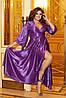 Розкішна блискуча довга вечірня сукня на запах з глибоким вирізом, батал великі розміри, фото 3