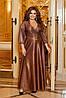 Шикарное блестящее длинное вечернее платье на запах с глубоким вырезом, батал большие размеры, фото 6
