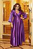 Шикарное блестящее длинное вечернее платье на запах с глубоким вырезом, батал большие размеры, фото 9