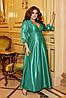 Шикарное блестящее длинное вечернее платье на запах с глубоким вырезом, батал большие размеры, фото 10