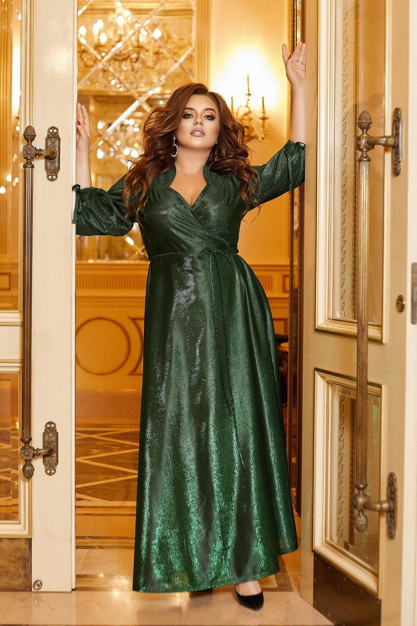 Шикарное блестящее длинное вечернее платье на запах с глубоким вырезом, батал большие размеры