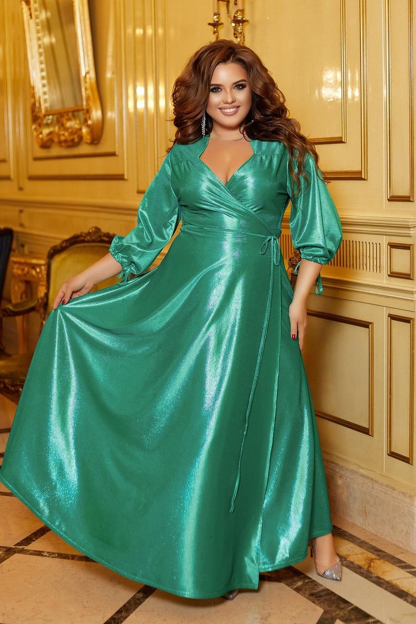Розкішна блискуча довга вечірня сукня на запах з глибоким вирізом, батал великі розміри