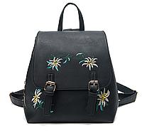 Сумка ранец женская черная экокожа непромокаемый полиуретан PU рюкзак городской молодежный вышивка этностиль