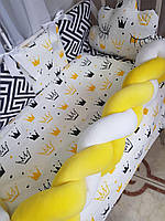 Комплект детского постельного белья в кроватку, защита в кроватку, бортики в кроватку Бонна коса короны