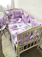 Комплект бортиков в детскую кроватку с цветами, бортики-подушечки, комплект белья для новорожденного