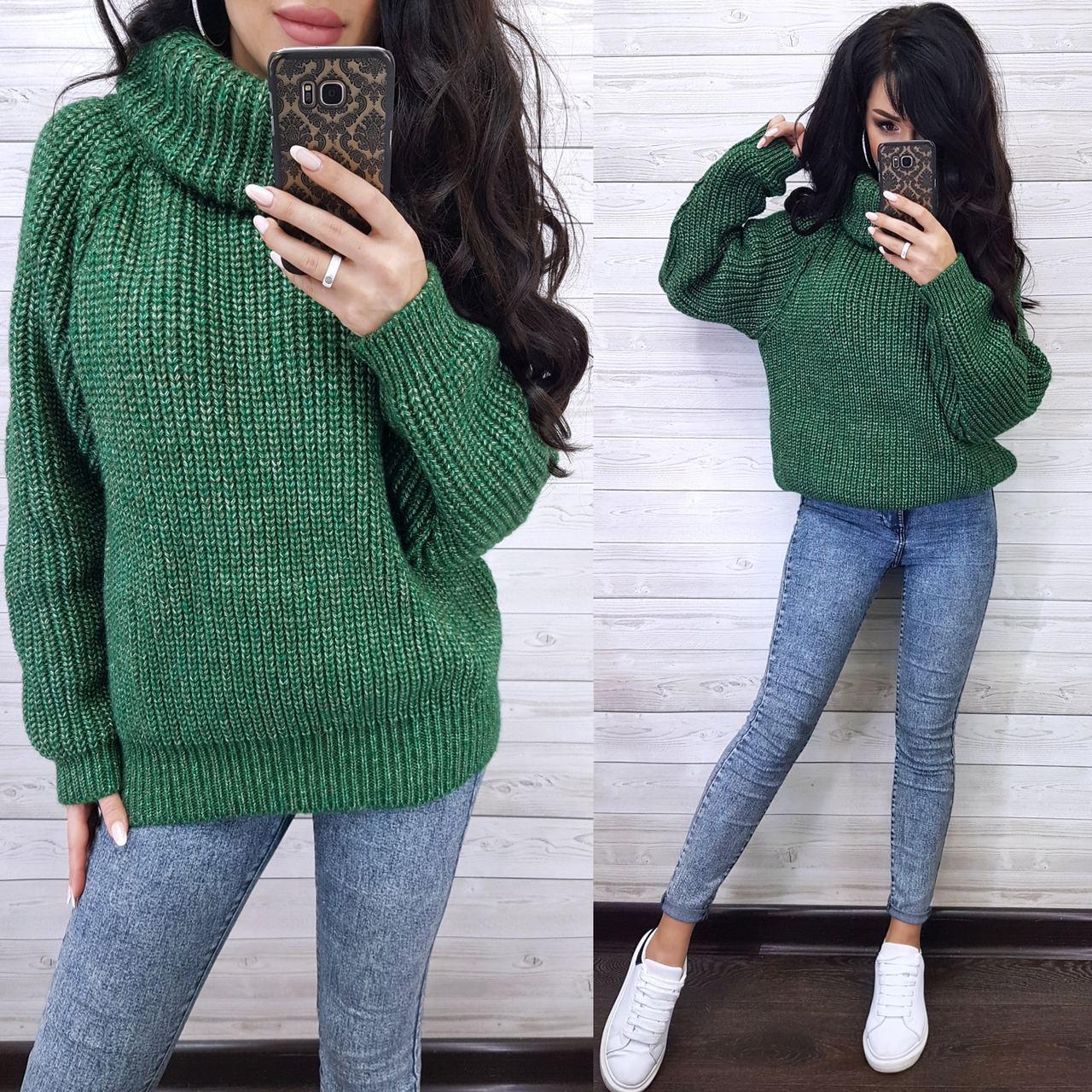Удлинненый свитер-туника oversize  из меланжевой пряжи Warm delight