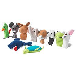Набір ляльок на палець IKEA TITTA DJUR 10 шт різні кольори 101.592.78