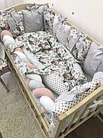 Комплект бортики подушечки + плед + косичка + простынка + кокон с подушечкой в детскую кроватку