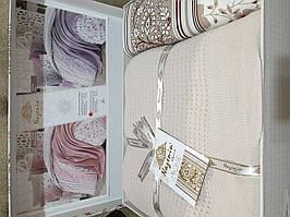 Євро комплект постільної білизни з пледом Nazenin Капучіно