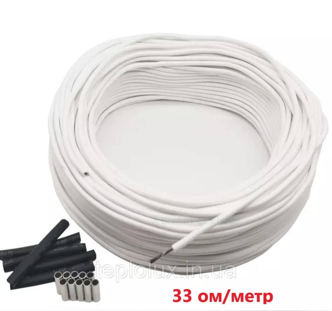 10 метрів. 33 Ом/м. Нагрівальний карбоновий кабель 12К у силіконовій ізоляції