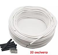 10 метрів. 33 Ом/м. Нагрівальний карбоновий кабель 12К у силіконовій ізоляції, фото 1