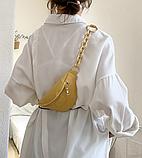 Яркая желтая сумка бананка, поясная сумка с тиснением, фото 3