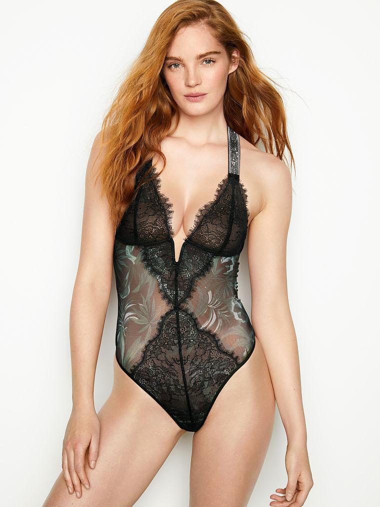 Кружевное боди со стразами Victoria's Secret Shine Strap V-wire Teddy, Черное