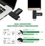 USB OTG флешка Nuiflash 32 Gb type-c - USB A Цвет Синий ОТГ для телефона и компьютера, фото 4