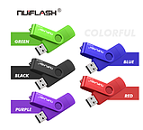 USB OTG флешка Nuiflash 32 Gb type-c - USB A Цвет Синий ОТГ для телефона и компьютера, фото 6