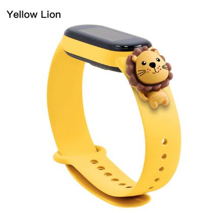 Силиконовый ремешок с милым львом на фитнес трекер Xiaomi mi band 5 Цвет Коричневый