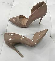 Женские туфли бежевые кожаные, фото 1