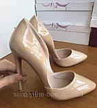 Жіночі бежеві туфлі шкіряні, фото 3