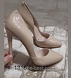 Жіночі бежеві туфлі шкіряні, фото 5